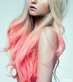 Neon blonde ombre dyed hair color