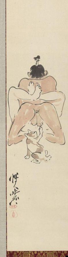 * Detalhe de três pinturas shunga quadrinhos.  Japão, c.  1871-1889.  Pendurado pergaminhos, tinta e cor no papel.  Kawanabe Kyosai (1831-1889) por Doris