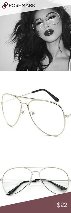 98d29979fdf9d Clear Aviator Frames New Silver And Clear Aviator Frames. Excellent Quality  100% UV Protection