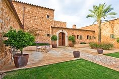 This beautiful newly built country house designed by AP Design is located in Santa Maria del Cami, Mallorca, Spain. Country House Design, My Ideal Home, Luxury Villa Rentals, Low Maintenance Garden, Mediterranean Garden, Country Estate, Pool Houses, Santa Maria, Santa Fe