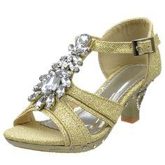 Girls' Shoes Girls T-Strap Glitter High Heel Dress Sandals W/ Rhinestones Jewel Accent Gold Girls Dress Sandals, Girls Shoes, Women Sandals, Ladies Shoes, Shoes Women, High Heels For Kids, Womens High Heels, Cute Sandals, Cute Shoes