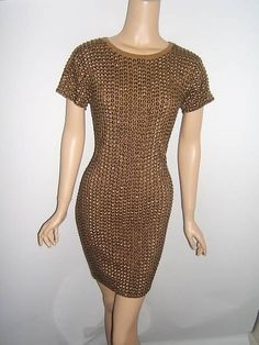 NEW Michael Kors Small 4 6 SEXY BRASS STUDS Gold KNIT Olive Green Dress NWT #MichaelKors http://stores.ebay.com/Designer-Shoes-and-More?_dmd=2&_nkw=michael+kors