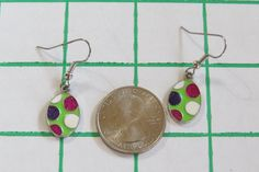 Easter egg earrings. INVENTORY REDUCTION  Polka Dot Easter eggs  Surgical Steel wires  Metal Charms Lightweight Decorated eggs   105EE by NammersCrafts on Etsy