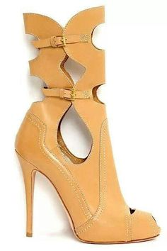 Alexander McQueen - Spring 2014 sandal bootie ankle boot with peep toe cut out #UNIQUE_WOMENS_FASHION
