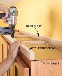 Create an attractive display shelf for the empty space above your kitchen cabinets. This project requires only basic carpentry skills, and you can build it in a day. diy kitchen projects How to Add Shelves Above Kitchen Cabinets Above Kitchen Cabinets, Kitchen Redo, Kitchen Ideas, Kitchen Shelves, Kitchen Designs, Kitchen Soffit, How To Clean Kitchen Cabinets, Installing Kitchen Cabinets, Kitchen Post