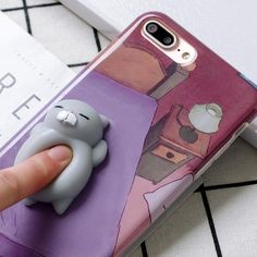3D Cartoon Cute Soft Silicone Squishy Squishy Cat Cover Case for iPhone