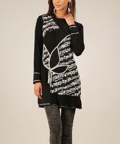 Look at this #zulilyfind! Black & White Floral Tunic #zulilyfinds