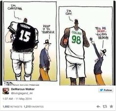 How the media and culture treated Tebow versus how it treated Jason Collins, the first openly-gay NBA player. Image source: Twitter via Twitchy