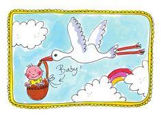 Vliegende ooievaar bezorgt een baby- Greetz