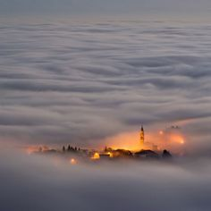 In the clouds.