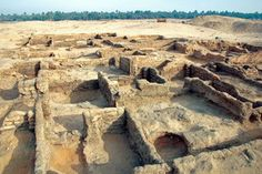 A neighborhood of closely packed mud-brick houses at excavation grid 12 in the Main City.