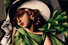 Jeune fille en vert, Tamara de Lempicka. Vers 1927 Huile sur contre-plaqué H. 61,5 x L. 45,5 cm Achat à l'artiste en 1932 Fonds national d'art contemporain Attribution au Musée national d'art moderne, Centre Pompidou, Paris