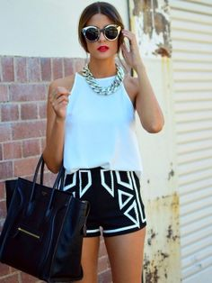 Hot pants and white t-shirt