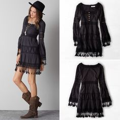 Artisan De Luxe for AEO Boho-inspired Dress NWOT!  Ultimate boho-inspired dress in a fit and flare silhouette with crochet, embroidery and long bell sleeves. Fully lined interior.  Perfect for Coachella or just a beautiful, sunshine-filled afternoon. American Eagle Outfitters Dresses