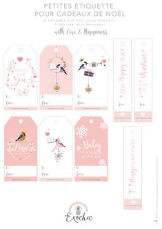 Free Printable Christmas Gift Tags from Exo-Chic Free Printable Christmas Gift Tags, Printable Tags, Christmas Mood, Pink Christmas, Printable Banner Letters, Card Sayings, Card Tags, Sticker Paper, Note Cards