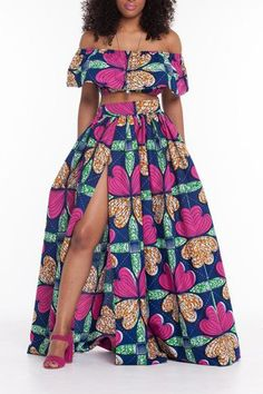 New summer African dress women Traditional African Clothing 2 Piece Set Women African Print Dashiki Dresses African Clothes African Attire, African Wear, African Dress, African Clothes, Two Piece Long Dress, Two Piece Skirt Set, African Print Fashion, Fashion Prints, Women's Fashion