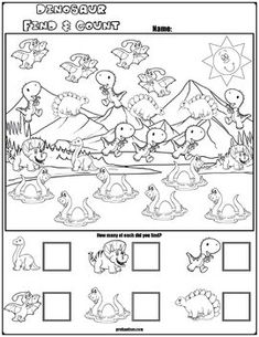 Find & Count Dinosaur Characters Teach counting skills with these Dinosaur Characters! Great for teaching counting skills. Five no prep worksheets great for math centers! Dinosaur Worksheets, Nursery Worksheets, Printable Preschool Worksheets, Dinosaur Activities, Preschool Activities At Home, Dinosaurs Preschool, Preschool Art, Autism Activities, Kindergarten Math Worksheets