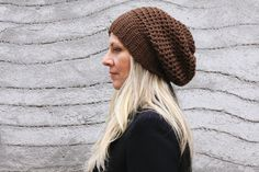 Women chunky crochet hat in brown winter fashion for by polixeni19