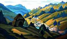 :: Nicholas Roerich :: virtual museum :: Hermit (Mysterious Old Man) 1941. Tempera on canvas. 46.8 x 79.6 cm Museum of Oriental Art, Moscow