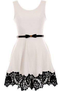 Pretty Lady Dress: Features a classic scoop neckline, contrast skinny belt at waist crowned with a super cute bow, perfect ladylike A-line skirt, and romantic black lace circling the hem to finish.