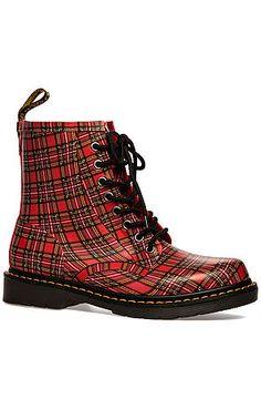 Dr. Martens Boot Drench 8-Eye in Plaid Red - Karmaloop.com  -  rubber, rain/water proof, fleece lined.       lj