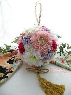 和装ボールブーケ Floral Arrangements, Wedding Bouquets, Macrame, Centerpieces, Wreaths, Bride, Decoration, Beautiful, Bud Vases