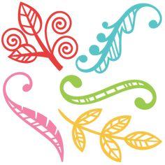 Flourish Leaf Set SVG scrapbook cut file cute clipart files for silhouette cricut pazzles free svgs free svg cuts cute cut files