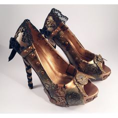Steampunk Copper Black Lace Custom Heels, Hand Painted Shoes (€130) ❤ liked on Polyvore featuring shoes, black shoes, steampunk shoes, steam punk shoes, copper shoes and kohl shoes