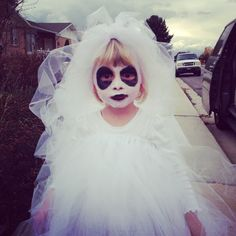 """""""Princess Ghost"""" made by yours truly. Although she gets all the credit for the idea. #halloween #costume #DIY #princessghost"""