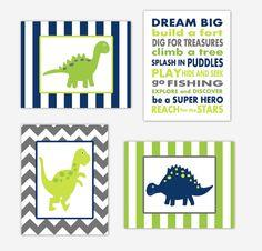 Dinosaur Boy Nursery Wall Art Navy Blue by DezignerheartDesigns