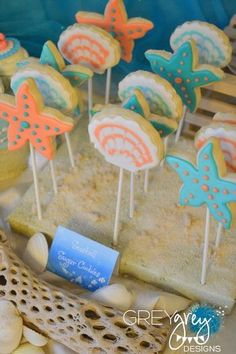 """cookies on a stick for a """"beach"""" party"""