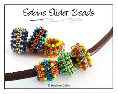 Beading Pattern, Instructions, Tutorial, Embellished Right Angle Weave, RAW, Slider Beads, Instant Download SABINE SLIDERS