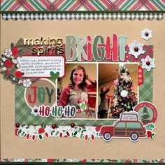 """Simple Stories Merry & Bright """"Making Spirits Bright"""" Layout : Gallery : A Cherry On Top Christmas Scrapbook Layouts, Scrapbook Cards, Christmas Layout, Scrapbook Layout Sketches, Scrapbooking Layouts, Handmade Christmas Gifts, Christmas Crafts, Christmas Holidays, Christmas Ideas"""