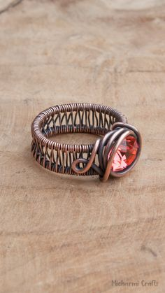 Wire wrapped rings 844424998861615517 - Wide Banded Ring Wire Wrapped with Copper with Padparadscha Colored Crystal, Size Source by Wire Jewelry Rings, Copper Jewelry, Copper Wire, Beaded Rings, Jewelry Box, Jewellery, Wide Band Rings, Handmade Rings, Handmade Wire