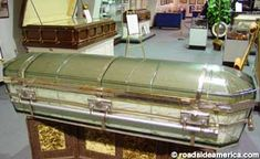 One of the other surviving glass coffins, at the National Museum of Funeral History in Houston, TX. (Yes, in the background, you are seeing a casket built for three people. Very interesting and a must see!