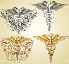 Designed by a hand engraver. Set of for medical symbols with engraved. - You are in the right place about Designed by a hand engraver. Set of for medical symbols with engra - Caduceus Tattoo, Piercing Tattoo, Body Art Tattoos, New Tattoos, Sleeve Tattoos, Nurse Tattoos, Piercings, Tatoos, Rn Tattoo