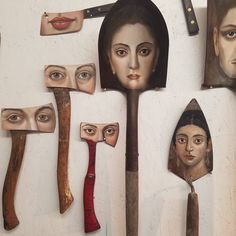 Los Angeles surrealist artist and sculptor Alexandra Dillon has painted a unique series of portraits on all sorts of worn paintbrushes. She also paints Found Object Art, Found Art, Paint Brush Art, Paint Brushes, Arte Horror, Recycled Art, Art Plastique, Artist Painting, Oeuvre D'art