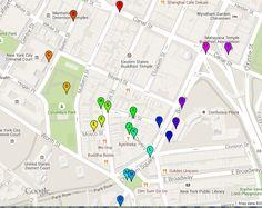 Free walking tour self-guided: Tour of Chinatown New York Map, print pdf