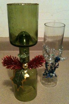 Copas de Vidrio hechas a mano con botellas de vidrio.