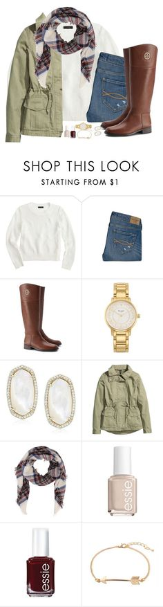 """srry guys I was grounded"" by judebellar03 ❤ liked on Polyvore featuring J.Crew, Abercrombie & Fitch, Tory Burch, Kate Spade, Kendra Scott, H&M and Essie"