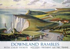 Downland Rambles, Beachy Head, Eastbourne, Sussex. BR Vintage Travel Poster by Allinson Posters Uk, Train Posters, Railway Posters, Cool Posters, Poster Prints, Art Prints, Retro Poster, Poster Vintage, National Railway Museum
