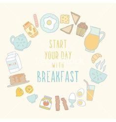 Doodle breakfast food and drink vector - by kondratya on VectorStock® Cricut Monogram Font, Food Doodles, Doodle Designs, Vector Art, Breakfast Recipes, How To Draw Hands, Food And Drink, Drinks, Adobe Illustrator
