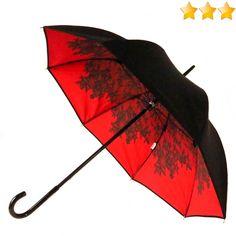 parapluie Chantal Thomass doublé noir et intérieur rouge dentelle noire