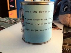 I saw this on tumblr. Its called a What I Love About You Jar. You write personal notes to whoever the gift is for telling them everything that you love about them. The idea is to make that person feel special and important, and each day they pick one out for a new compliment. My next boyfriend will definitely be surprised. I love doing cute romantic corny things like this.
