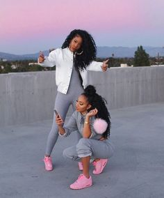 jumpsuit leggings pink sneakers bomber jacket white crop tops bun dope iphone swag shoes natural hair curly hair black girls killin it cute grey pastel nike baby pink air max hair frends style nike air max 90 pink sneakers Go Best Friend, Best Friend Goals, Best Friends, Sisters Goals, Bff Goals, Squad Goals, Couple Goals, Black Girl Magic, Black Girls