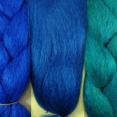 Kanekalon color comparison from left to right: Royal Blue, Pacific Blue, Petrol Green