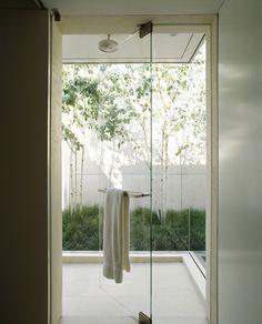 Garden: Bathroom Glass Pivot Door With Towel Rail Modern Single House Design And Terrace With Small Garden Ideas