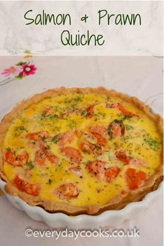 Salmon and Prawn Quiche makes a special lunch dish for a summer picnic or celebration buffet. Prawn Recipes, Fish Recipes, Snack Recipes, How To Cook Meatballs, How To Cook Steak, Salmon Dishes, Fish Dishes, Seafood Dishes, Salmon Quiche