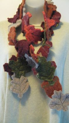 leaf scarf refashioned from felted sweaters
