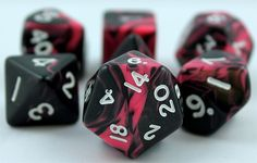 #9: Pink Oblivion polyhedral dice by Crystal Caste (Special Mix Pink and Black) - Purchased from Dark Elf Dice online. 2014.
